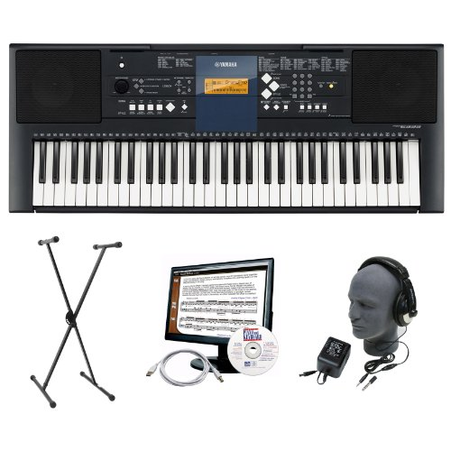Yamaha PSR-E333 Premium Keyboard Package with Headphones, Stand, Power Supply, 6-Feet USB Cable and eMedia Instructional Software