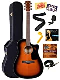 Fender CD-60CE Dreadnought Cutaway Acoustic-Electric Guitar Bundle with Hardshell Case, Instrument Cable, Strap, Strings, Tuner, Stringwinder, Picks, Instructional DVD, and Polishing Cloth - Sunburst