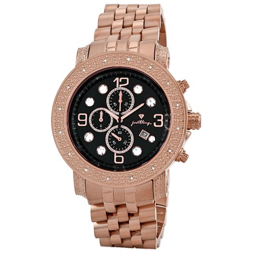 "Just Bling Men's JB-6116-F ""Tazo"" 18K Rose Gold-Plated Chronograph 0.16 Carat Diamond Watch"
