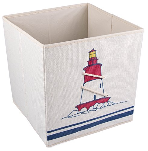 Red and White Lighthouse Collapsible Storage Box and Closet Organizer with Nautical Rope (Nautical Baskets For Storage compare prices)