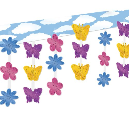 Butterfly & Flower Ceiling Decor Party Accessory (1 count) (1/Pkg) - 1