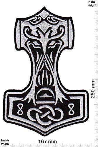 """Patch - Thor Hammer - Celtic - Viking- 25 cm - Bigpatch - Thor- toppa - applicazione - Ricamato termo-adesivo - Patch"""""""