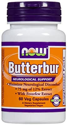 NOW Foods Butterbur with Feverfew, Vegetarian Capsules, 60 ea