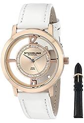 Stuhrling Original Women's 388L2.SET.03 Analog Winchester Tiara Swiss Quartz 16K Rose Gold-Plated Watch with Interchangeable Strap