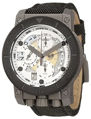 Jason Taylor for Invicta Collection 13052 Chronograph Silver Tone and Perforated Dial Black Fabric Watch by Invicta
