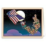 Patriotic Santa Christmas Card 12 cards/ 13 envelopes
