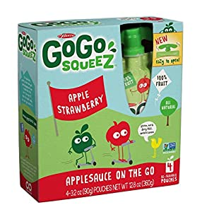 GoGo SqueeZ AppleStrawberry, Applesauce on the Go, 3.2-Ounce Pouches (Pack of 48)