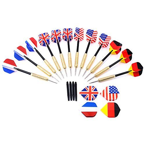GWHOLE 12 Dartpfeile Steeldarts mit unterschiedlichen Nationalfahnen, Metallspitzen thumbnail