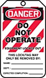 """Accuform Signs MLT405CTP Lockout Tag, Legend """"DANGER DO NOT OPERATE EQUIPMENT LOCKED OUT"""", 5.75"""" Length x 3.25"""" Width x 0.010"""" Thickness, PF-Cardstock, Red/Black on White (Pack of 25)"""