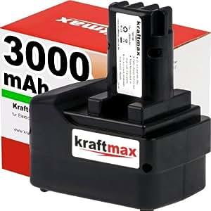 Kraftmax 12V Akku für METABO - 3000mAh / Ni-MH - BST 12 Impuls / BS / SB 12 / ULA 12 / 6.31729 / 6.31747 / 12 V