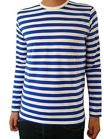 Mens blue white striped breton long sleeve mod for Blue and white striped long sleeve t shirt