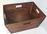 RT430564BR - Rectangular Rattan/Wicker Storage Basket or Storage Bin in Brown