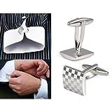 SODIAL(R)男性のステンレスのビジネス、結婚式のシャツのシルバーの四角のカフスボタン