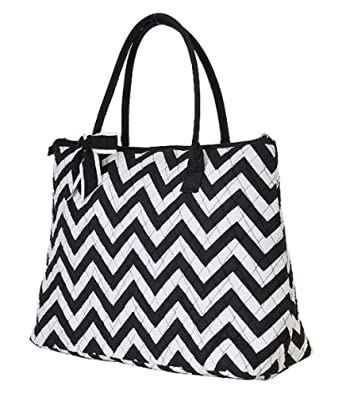 Lime Tree Quilted Chevron Extra Large Tote Bag (Black/White)