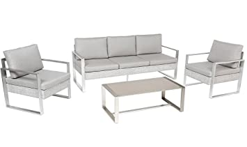 Salon de jardin en aluminium et polyester coloris taupe - PEGANE -