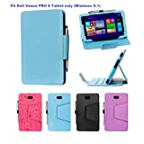i-UniK Dell Venue 8 PRO Windows 8.1 HD Tablet (8 inch) Slim PU Leather Protection Case [Bonus Stylus Included] (Light Blue)