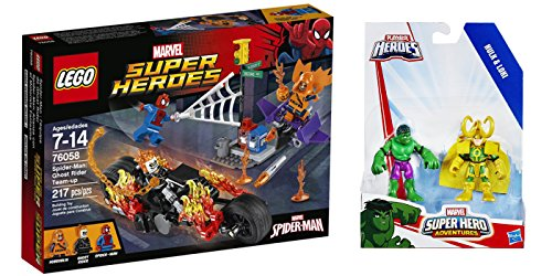 LEGO Super Heroes Spider-Man Ghost Rider Team-up 217 Pcs & free Gifts Super Hero Adventures Hulk and Loki (Colors may vary) Toys