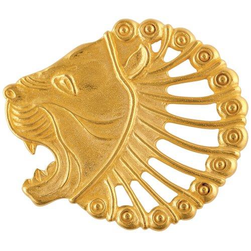 Gold Brooch Pin Lion Head Animal Jewelry 24K