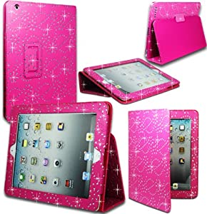 Magic Global Gadgets - Hot Pink Diamond Bling Sparkly Gem Glitter Pu Leather Flip Case Cover Pouch For Apple Ipad Mini With Screen Guard & Stylus