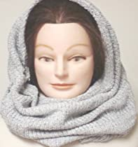 Hand Machine Knitted Light Grey Chenille Hood Scarf Neck Warmer Balaclava to Wear in Very Cold Weather for Women and Teens
