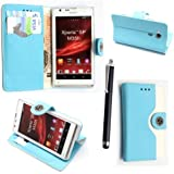 GSDSTYLEYOURMOBILE {TM} SONY XPERIA SP M35H PREMIUM QUALITY PU LEATHER MAGNETIC FLIP CASE SKIN COVER POUCH + STYLUS (Sky Blue and White Book Flip)
