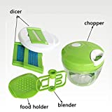 Manual Food Chopper, ONEONEY Compact Hand Held Vegetable Chopper with Dicer 7 in 1 /Mincer/Blender to Chop Fruits, Vegetables, Nuts,Herbs,Onions,Garlics for Salsa,Salad,Pesto,Coleslaw,Purer