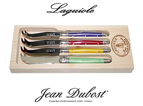Laguiole Dubost - Set of 4 Cheese Knives - Multi Rainbow Colors : Prince Purple - Yellow - Red - Mint Green (Stainless Steel Lemmet - French Genuine Quality Family Dinner Colour Table Flatware/Cutlery Dessert Setting for 4 People - Each Knife: 6 Inches - Manufactured in France - Direct From France) (Cow Fondue compare prices)
