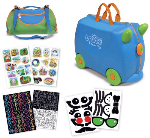 Trunki Terrance Travel Suitcase Combo Pack- Trunki, Coordinating Totebag And 3 Bonus Sticker Packs (Blue/Green)
