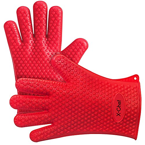 BBQ Gloves, X-Chef Heat Resistant Grill Gloves for Cooking Baking Barbecue Potholder Christmas Gift (Heat Cooking Gloves compare prices)