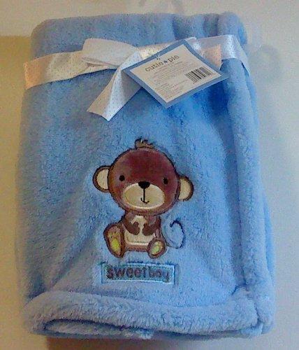 Cutie Pie Monkey Blue Sweet Pie Baby Blanket