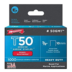 Arrow Fastener 506M1 Genuine T50 Monel Rustproof 3/8-Inch Staples, 1,000-Pack