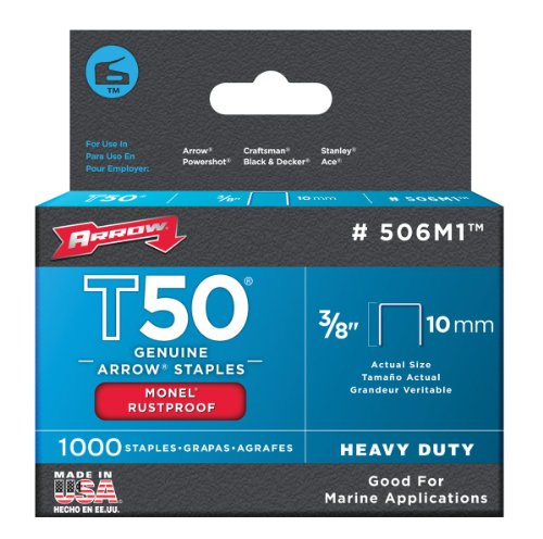 Arrow 506M1 Genuine T50 Monel Rustproof 3/8-Inch Staples, 1,000-Pack