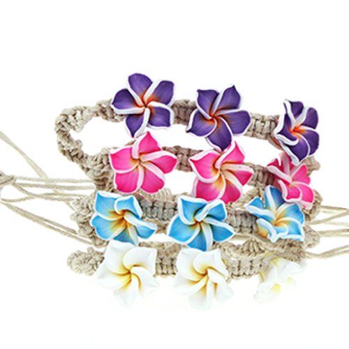 Flower Bracelet Handmade Clay Flower on Rope Adjustable (Pastel Colors) 4 Pieces Set - 1