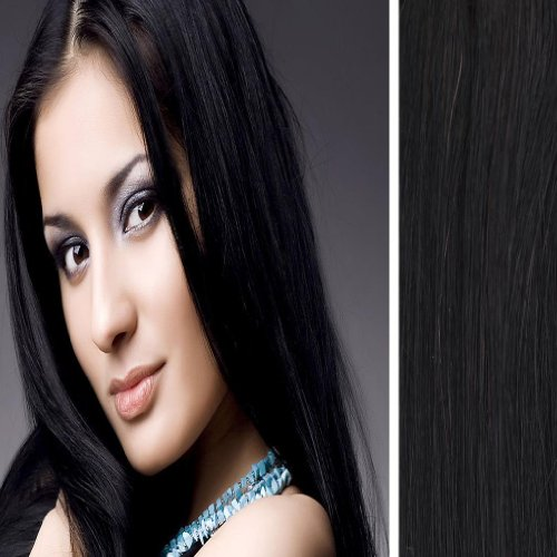 Yazilind Clip in Straight Remy Real Human Hair Extensions 20″ 70g 7pcs 1B# Off Black Full Head Set