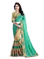 Shubhkari Fashion Green Georgette Women's Fancy Saree With Blouse(SF_NAVRATRI_SPECIAL_023_FESTIVAL_INDIAN_STYLE_BRANDED)