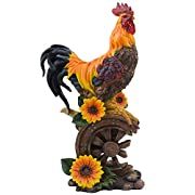 Classic Proud Rooster Statue on Old-fashioned Wagon Wheel with Sunflower