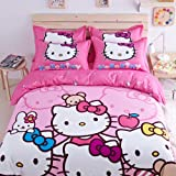 Lt Twin Full Size Cotton Pink Four Sisters Bear Apple Rabbit Hello Kitty Bedding Sets Duvet Cover Sets (Twin, Without flat sheet( (without comforter)))