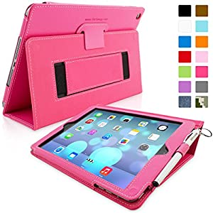 Snugg iPad Air (iPad 5) Case - Smart Cover with Flip Stand & Lifetime Guarantee (Hot Pink Leather) for Apple iPad Air (2013)