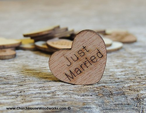 Wooden Heart Confetti ~ Just Married ~ Wood Hearts, Wood Confetti Engraved Love Hearts- Rustic Wedding Decor (100 count)