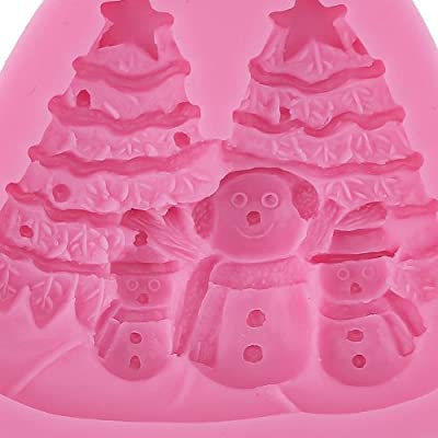 2PCS Christmas Xmas snowflake Beer Deer Snowman Tree Chocolate Sugar Candy Silicone fondant Bakeware Mold Mould Tin Sugarcraft Cake Decoration