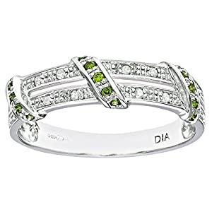 Ariel 9ct White Gold Green Diamond Twist Ribbon Eternity Ring