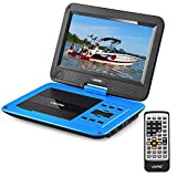 UEME Portable DVD Player CD Player with 10.1 Inch LCD Screen, Remote Control, Wall Charger Car Charger, Canvas Headrest Case, Personal DVD Player with Built-in Rechargeable Battery PD-1020 (Blue) (Color: Blue)