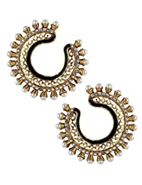 The Jewelbox Gold Plated Hoop For Women ( Black )