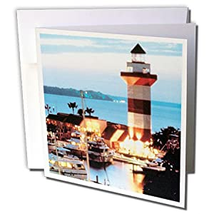 3dRose 8 x 8 x 0.25 Inches Harbour Town Lighthouse at Hilton Head Island at Dusk Greeting Cards, Set of 12 (gc_61725_2)