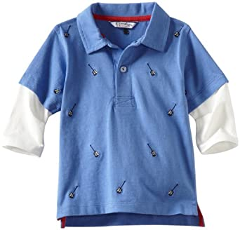 Kitestrings Baby-Boys Infant Embroidered Cotton Jersey Slider Polo Shirt, Blue Embroidery, 12 Months