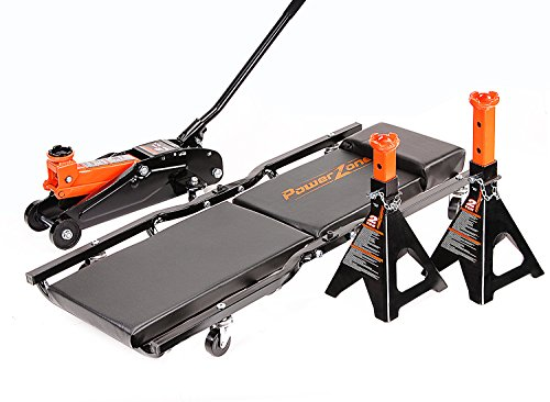 Powerzone 380059 Black/Orange 2 Ton Jack Combo with 2 Ton Jack Stands and 36