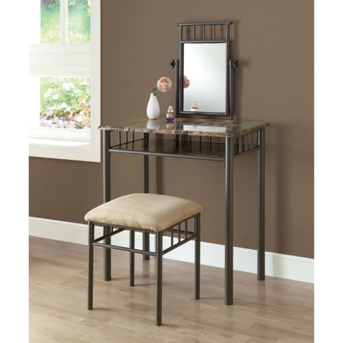 Monarch Specialties Bronze Metal and Cappuccino Marble Vanity Set, 2-Piece
