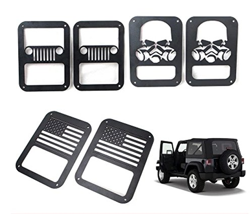 Sunroadway® 2 X Tail lamp Tail light Cover Trim Guards Protector for Jeep Wrangler Sport X Sahara Unlimited Rubicon 2007-2015 (USA Flag)