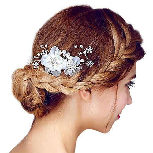 FAYBOX Silver Tone Silk Flower Pearl Hair Comb Crystal Wedding Bride Accessories B