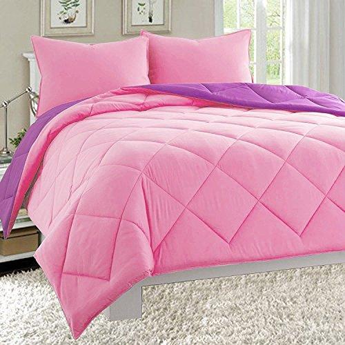 Elegant Comfort All Season Light Weight Down Alternative Reversible 3-Piece Comforter Set, Full/Queen, Pink/Purple (Reversible Comforter Full compare prices)